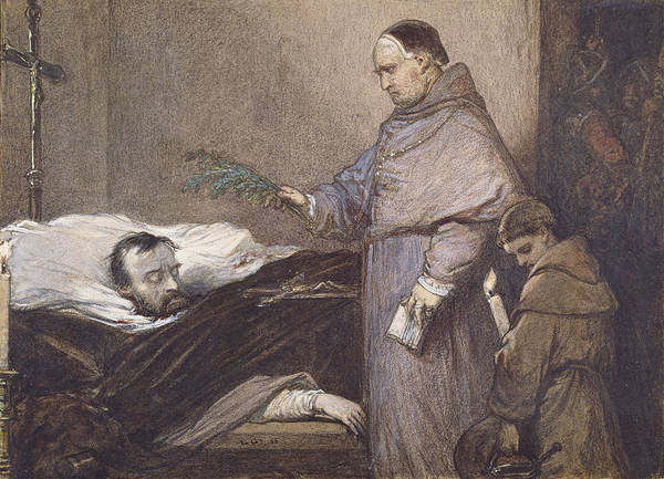 Beheaded Wall Art - Photograph - Martin Rithone Blessing The Body Of The Count Of Egmont Wc On Paper by Louis Gallait