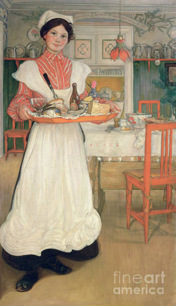 Apron Wall Art - Painting - Martina Carrying Breakfast On A Tray by Carl Larsson