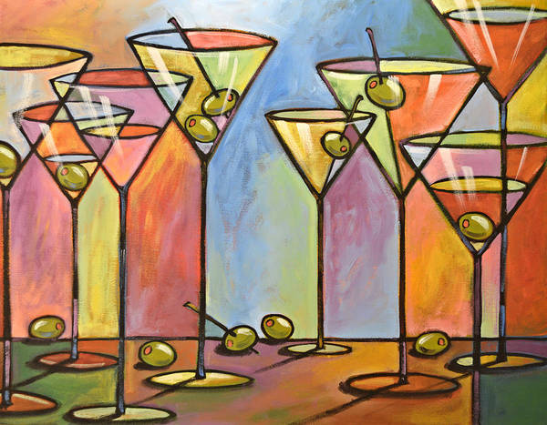 Martini Glasses Painting - Martini Bar ... Abstract Alcohol Art by Amy Giacomelli