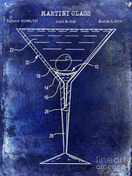 Cocktail Shaker Photograph - Martini Glass Patent Drawing Blue by Jon Neidert