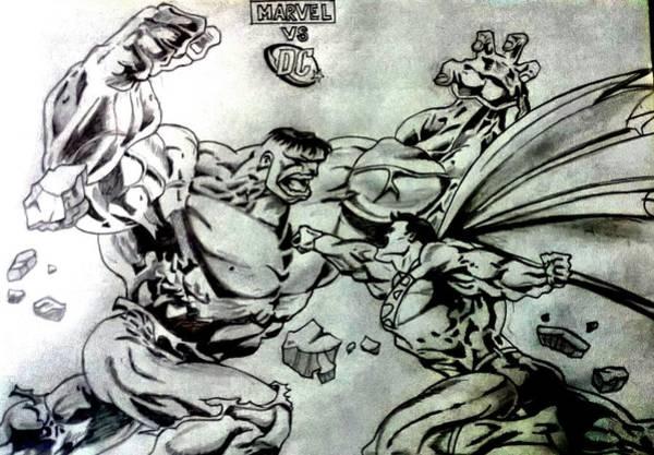 Wall Art - Drawing - Marvel Vs Dc by Shokeen Kalyan