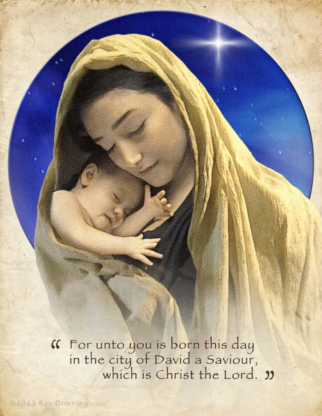 Wall Art - Digital Art - Mary And Baby Jesus Blue With Quote by Ray Downing