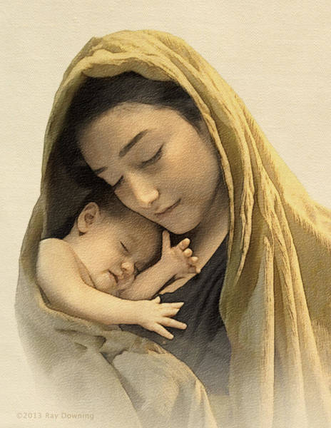 Virgin Digital Art - Mary And Baby Jesus by Ray Downing