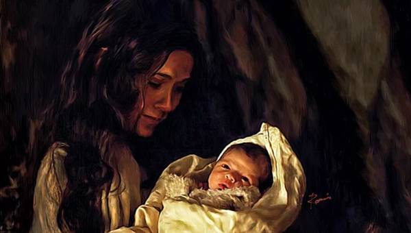 Digital Art - Mary And The Child by Charlie Roman
