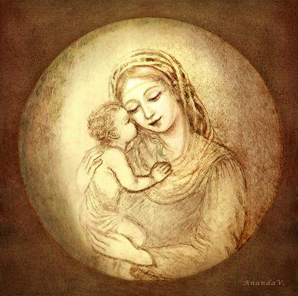 Wall Art - Mixed Media - Mary And Jesus by Ananda Vdovic