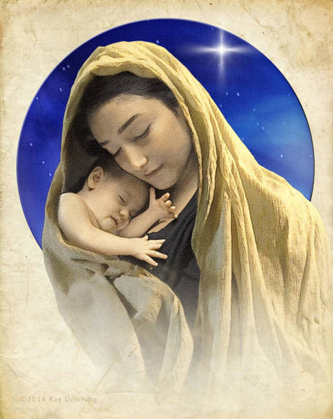 Wall Art - Digital Art - Mary And Jesus Blue 2 by Ray Downing