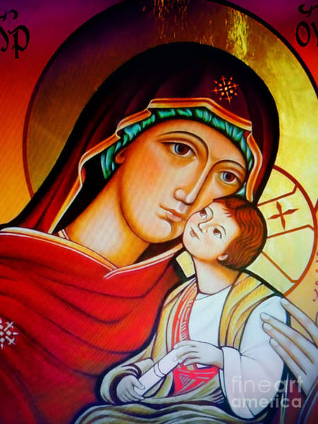 Russian Orthodox Church Painting - Mary And Jesus Icon by Ryszard Sleczka