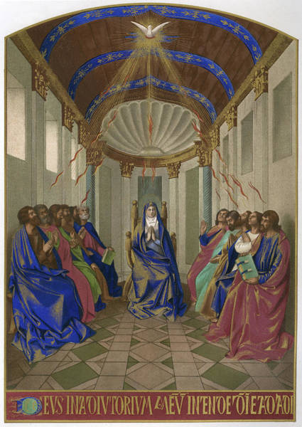 Wall Art - Drawing - Mary And The Apostles Receive  The Gift by Mary Evans Picture Library