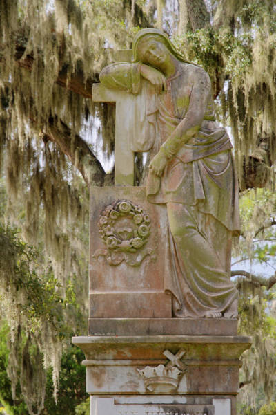 Photograph - Mary At Cross Grave Statue by Bradford Martin