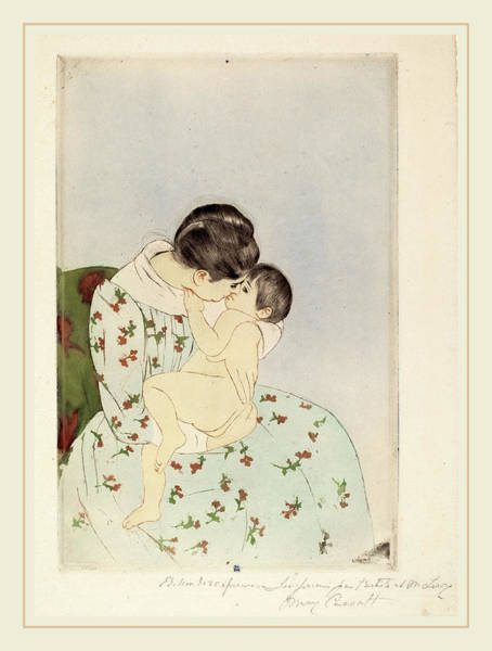 Wall Art - Drawing - Mary Cassatt, Mothers Kiss, American, 1844-1926 by Litz Collection