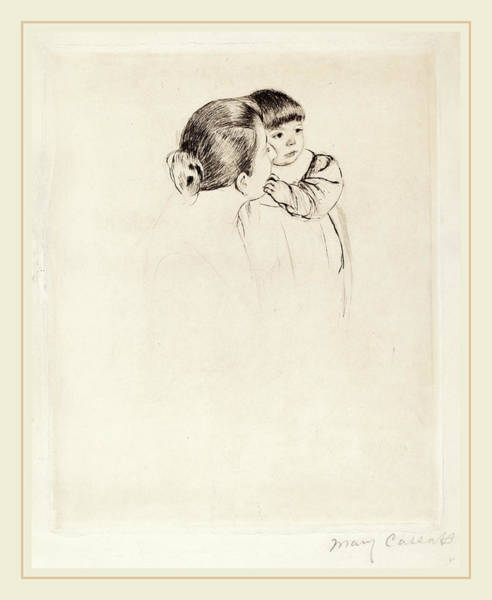 Wall Art - Drawing - Mary Cassatt, Peasant Mother And Child, American by Litz Collection