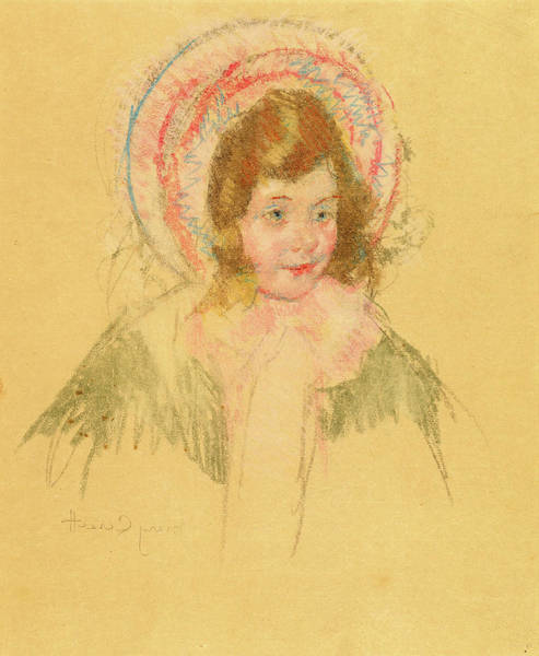 Wall Art - Drawing - Mary Cassatt, Sara Wearing A Bonnet And Coat by Litz Collection