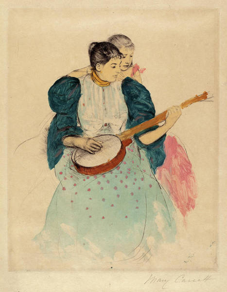 Inking Wall Art - Drawing - Mary Cassatt, The Banjo Lesson, American by Quint Lox