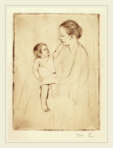 Wall Art - Drawing - Mary Cassatt, The Caress, American, 1844-1926 by Litz Collection