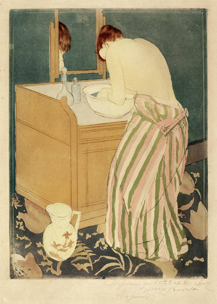 Wall Art - Drawing - Mary Cassatt, Woman Bathing, American, 1844 - 1926 by Quint Lox