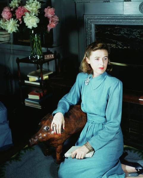 Wall Art - Photograph - Mary Cushing Wearing A Blue Dress by Horst P. Horst