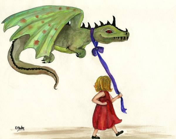 Potential Painting - Mary Had A Little Dragon by Katrina Hawley