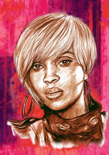 Record Album Wall Art - Drawing - Mary J. Blige Stylised Pop Art Drawing Potrait Poser by Kim Wang