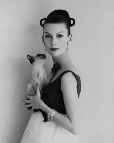 Cats Photograph - Mary Jane Russell Holding A Cat by Karen Radkai