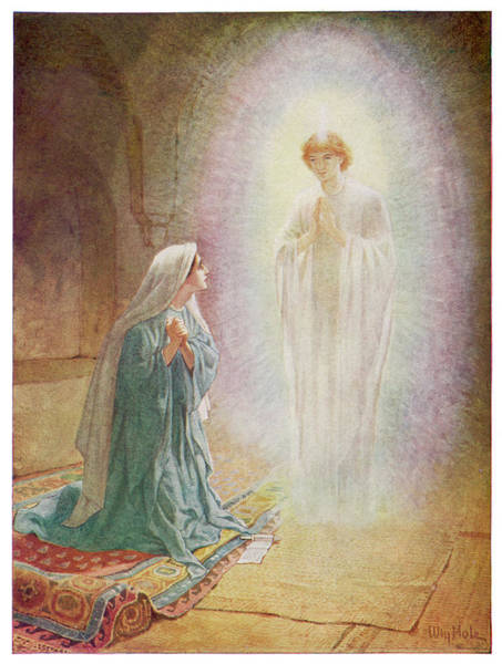 Pregnancy Drawing - Mary Learns From The Angel  Gabriel by Mary Evans Picture Library