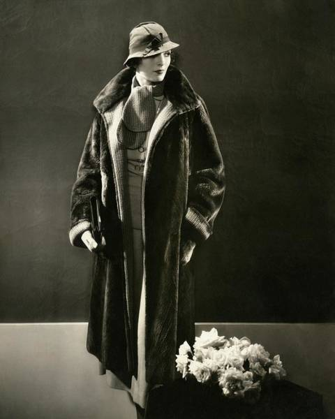 Warm Photograph - Mary Oakes Wearing A Peggy Morris Scarf And Rose by Edward Steichen