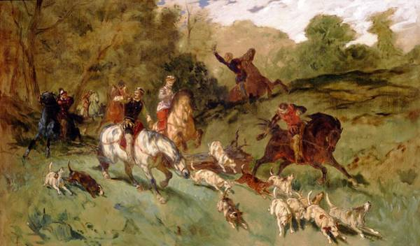 Chase Photograph - Mary Stuart Hunting Oil On Canvas by Eugene-Louis Lami