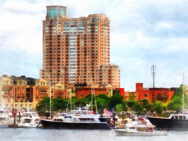 Photograph - Maryland - Boats At Inner Harbor Baltimore Md by Susan Savad