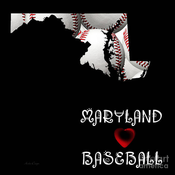 Digital Art - Maryland Loves Baseball by Andee Design