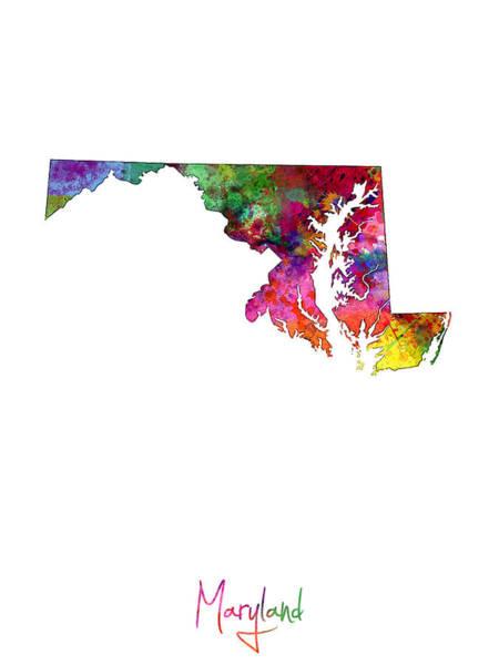 Maryland Wall Art - Digital Art - Maryland Map by Michael Tompsett