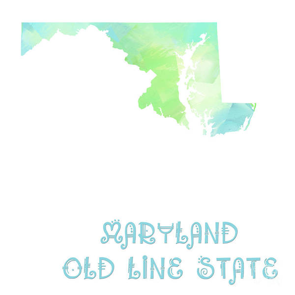 Digital Art - Maryland - Old Line State - Map - State Phrase - Geology by Andee Design