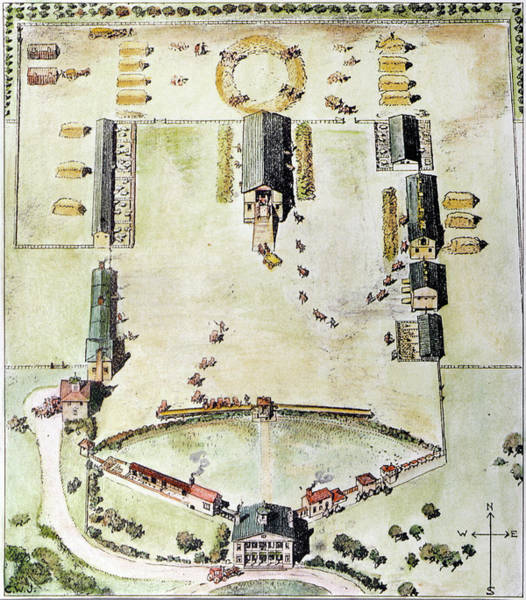 Reconstruction Drawing - Maryland Plantation by Granger