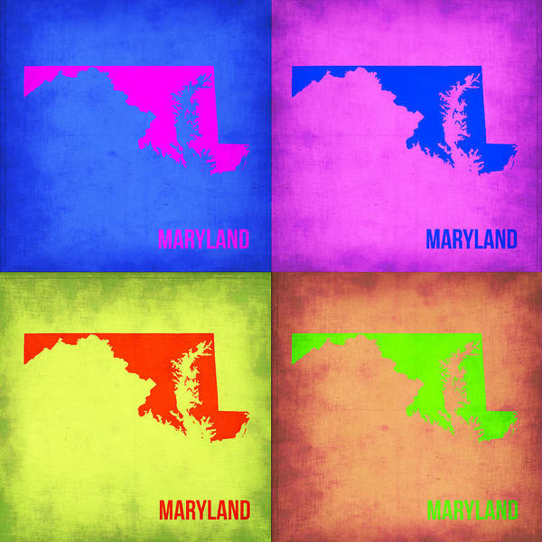 Wall Art - Painting - Maryland Pop Art Map 1 by Naxart Studio