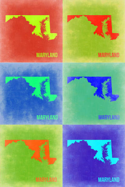 Wall Art - Painting - Maryland Pop Art Map 2 by Naxart Studio