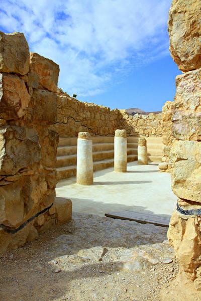 Roman Fort Photograph - Masada Synagogue by Stephen Stookey