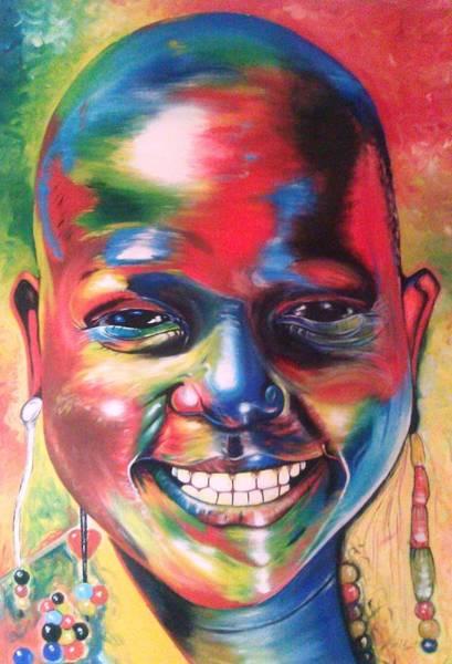 Wall Art - Painting - Masai Girl by Labeja  Gilbert