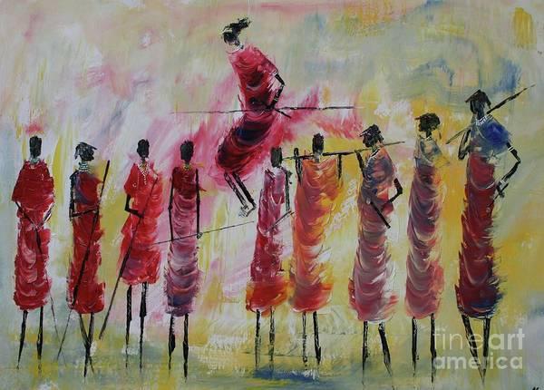 Uganda Painting - Masai Jumping by Abu Artist