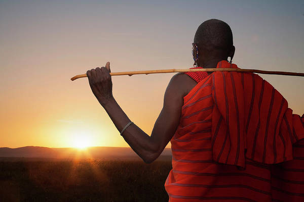 Shaved Head Photograph - Masai Man Watching Sunset by Buena Vista Images
