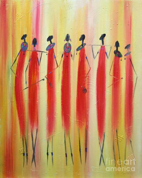 Uganda Painting - Masai Warriors by Abu Artist