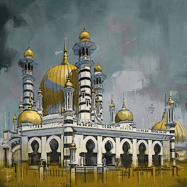 Mosque Painting - Masjid Ubudiah by Corporate Art Task Force