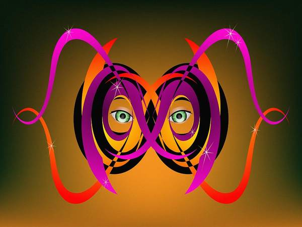 Digital Art - Mask In Purple And Orange by MM Anderson