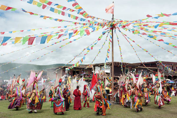 Asia Photograph - Masked Monks Dancing At A Tibetan by Remote Asia Photo