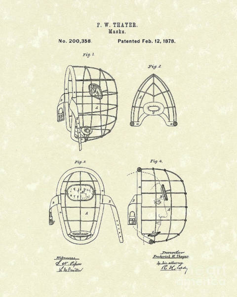 Wall Art - Drawing - Masks 1878 Patent Art by Prior Art Design