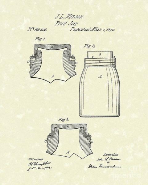 Fruit Drawing - Mason Fruit Jar 1870 Patent Art by Prior Art Design