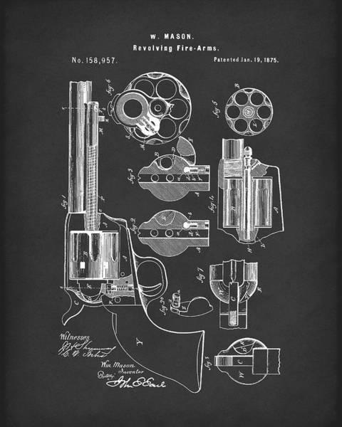 Antique Firearms Wall Art - Drawing - Mason Revolving Firearm 1875 Patent Art Black by Prior Art Design