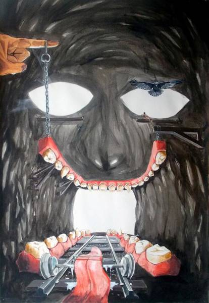 Wall Art - Painting - Masquera Carcaza  by Lazaro Hurtado