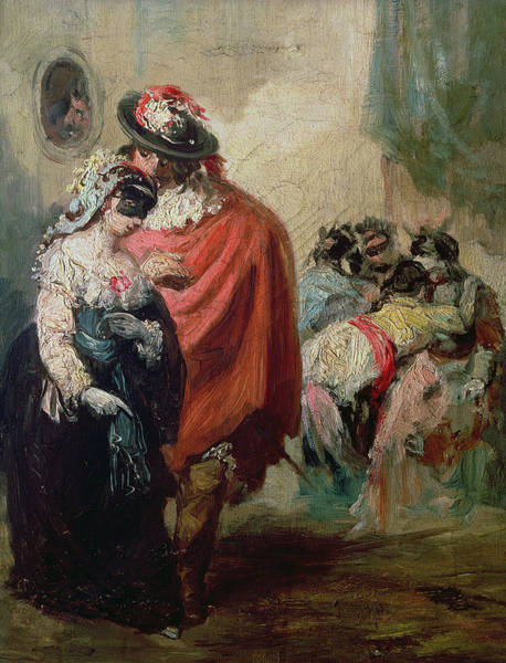 Wall Art - Photograph - Masquerade Oil On Canvas by Eugenio Lucas y Padilla