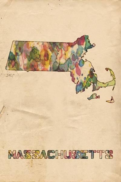 Painting - Massachusetts Map Vintage Watercolor by Florian Rodarte