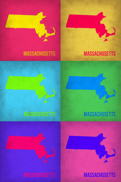 Massachusetts Painting - Massachusetts Pop Art Map 1 by Naxart Studio