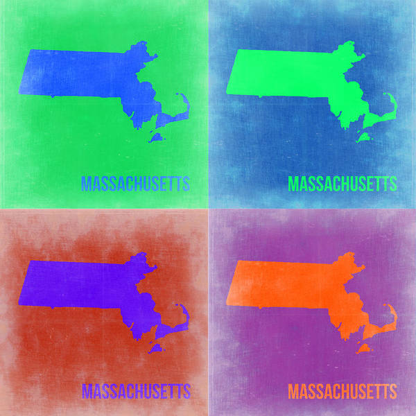Wall Art - Painting - Massachusetts Pop Art Map 2 by Naxart Studio