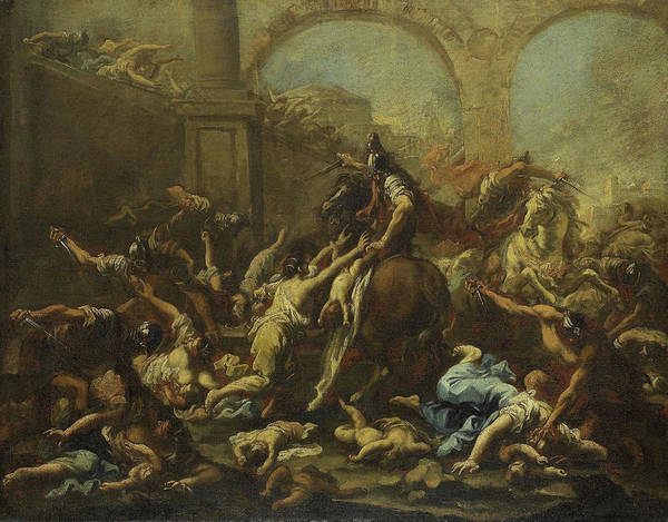 1715 Drawing - Massacre Of The Innocents, Alessandro Magnasco by Litz Collection